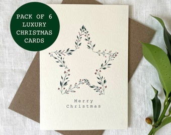 PACK OF 6 Luxury Star Christmas Card, Merry Christmas Card Pack, Christmas Gifts, Simple Christmas Card Set - Pack of Cards