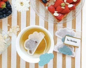 Tea Bags Cloud Shaped (5) - blue and sparkle - breakfast - zen