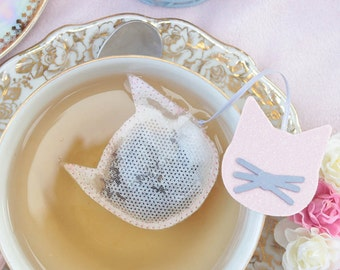 Cat shaped tea bags - Cat lover - Tea time - Pink - Glitter - Sparkle
