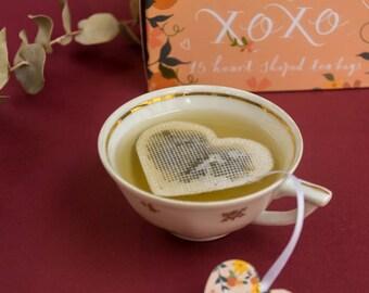 Box of 15 heart shaped tea bags - romantic cute - tea time - hyggee