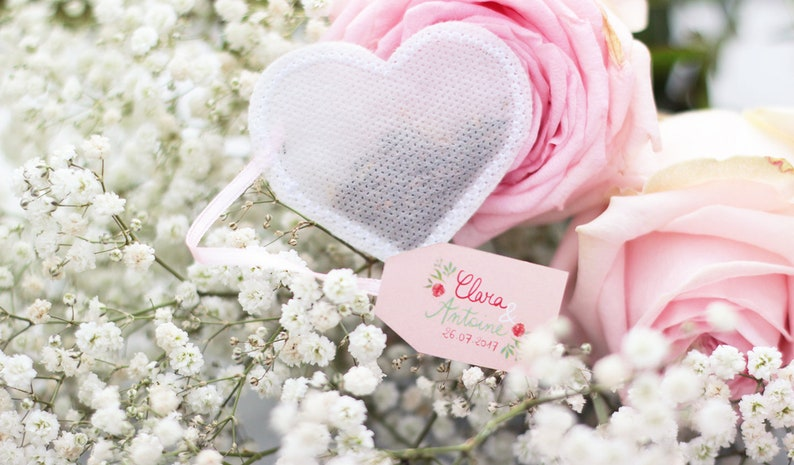 Wedding Favors Tea Bags Heart Shaped 50 Pieces White Etsy