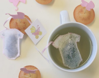 Tea Bags baby, onesie shaped . Birth . Baby shower . Girl (5)