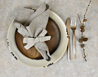 """Natural softened linen napkins- set of 6- size 17""""x17""""- historical table napkin- table serving- rustic weddings- eco friendly- handmade"""