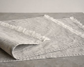 Linen placemats- washed linen placemats- rough linen- rustic placemats- natural linen- dining table serving- table mat- set of -fringed mats