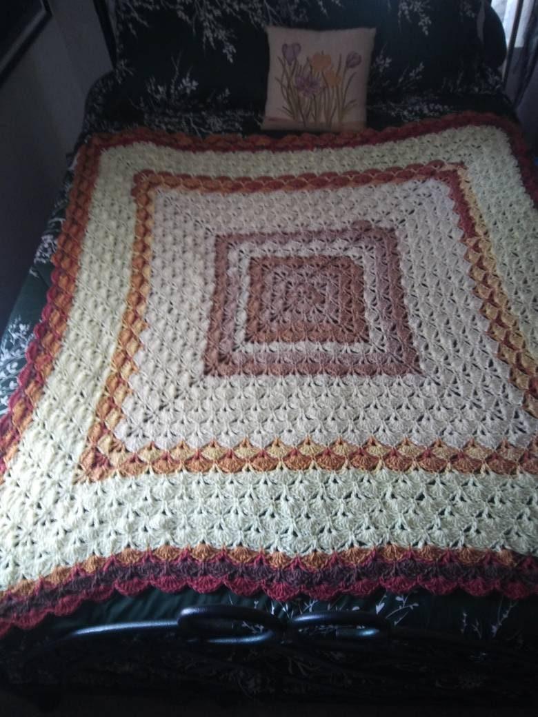 Beautiful Shells Crochet Blanket Butterscotch Ripple Ready To Etsy