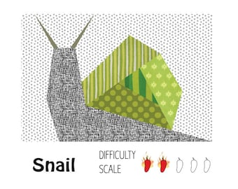 Snail paper pieced quilt pattern in PDF