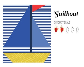 Sailboat pieced quilt pattern in PDF