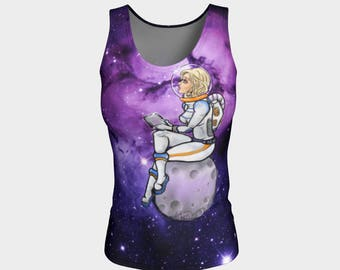 8ceefd0cfd0c8 Space Girl Astronaut NASA space moon stars galaxy yoga athletic tank top  handmade high quality artist original art science chic geek wear