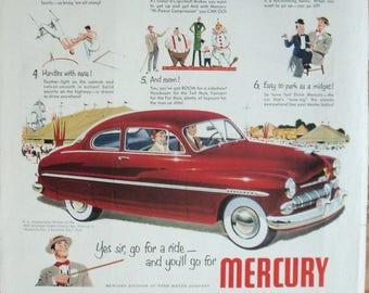 1950 Ford Mercury Car Ad ~ Popular as a Three Ring Circus ~ Original Magazine Advertising