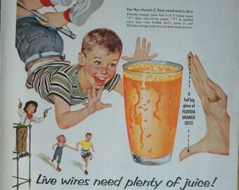 Florida Orange Juice Ad ~ Cute Children ~ Original Advertising 1950's