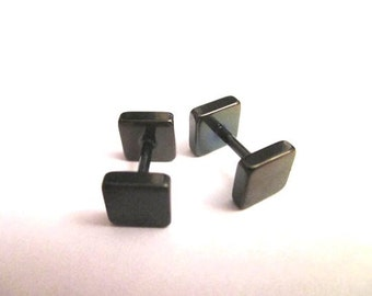 Square Fake plug black  6mm