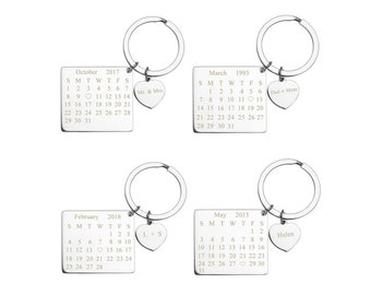Personalized Calendar Keychain,Anniversary Date Keychain,Wedding Date Key Ring,EngravedKey Ring,Stainless Steel Chain,Save the Date Keychain