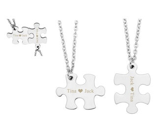 Customizable Puzzle Piece Necklace Set,Engraved Necklace,Couples Necklace,Personalized Pendant,Stainless Steel Necklace,Matching Necklace