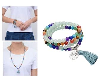 108 Bead Malas, Buddha Beads Bracelet, Aventurine Mala Necklace Beaded Necklace, Mala with Tassel, Life of Tree Pendant,Tassel Necklace