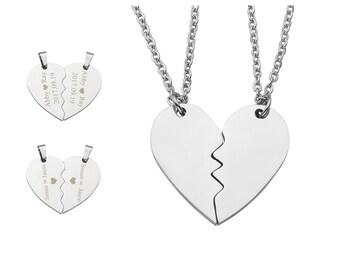 2pc Heart Puzzle Piece Necklace, Personalized Couples Necklace,Puzzle Piece Necklace Set, Custom Matching Name Necklace,Best Friend necklace