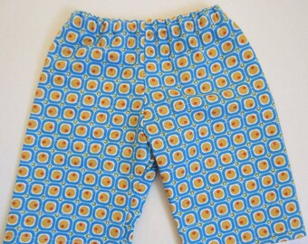 Quilty Pants LAST PAIR 12-18 month. Blue and yellow dots and squares.