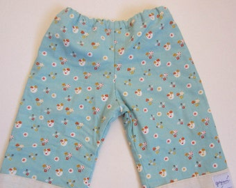 Quilty Pants 6 month to 2T. Blue/green tiny mushroom print.