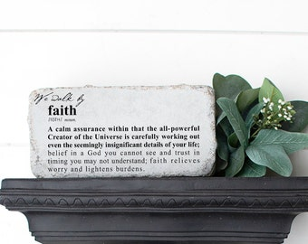 We Walk By Faith Garden Stone   Gift for Mom   Biblical Gifts   Concrete Garden Decor   Faith Definition   Bookshelf Brick  
