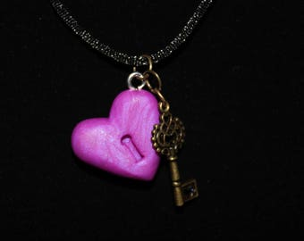 Purple Heart Key and Lock Necklace