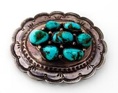 Navajo Oval Belt Buckle Turquoise Sterling Silver