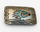 Navajo Bear Paw Belt Buckle Chip Inlay William Caroline Begay Sterling Silver