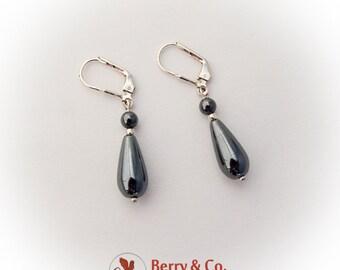 Hematite Teardrop Dangle Earrings Sterling Silver
