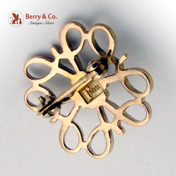 Vintage Small Ornate Brooch Seed Pearl 10 K Gold - image 4