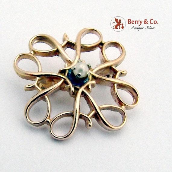 Vintage Small Ornate Brooch Seed Pearl 10 K Gold - image 2