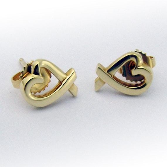Tiffany Paloma Picasso Loving Heart Earrings 18K Y