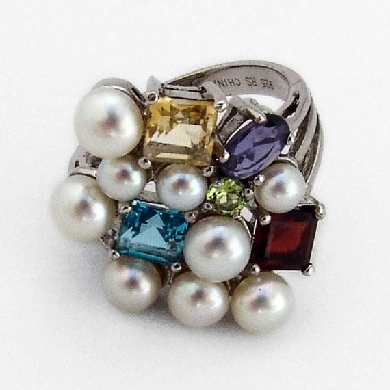 Multi Stone Pearl Ring Sterling Silver