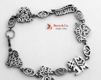 SaLe! sALe! Vintage Mother Dedicated Charm Bracelet Sterling Silver