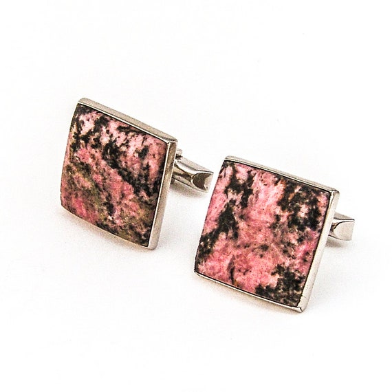 Large Square Rhodonite Cufflinks Sterling Silver