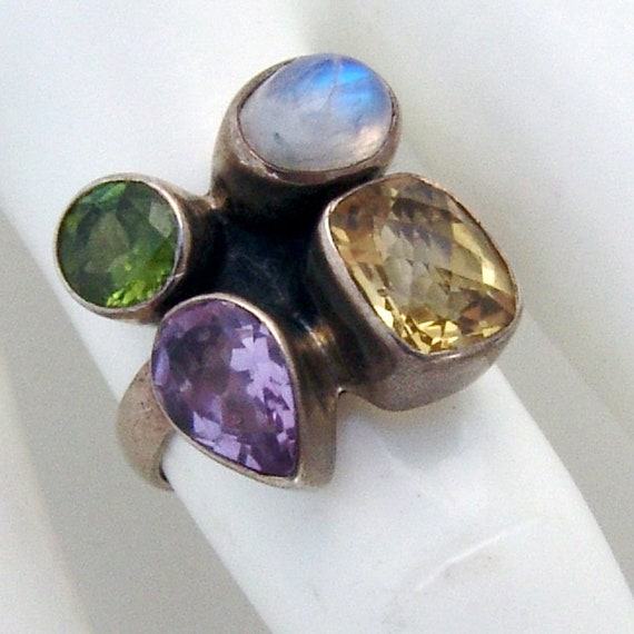 Colorful Multi Stone Ring Sterling Silver Arya