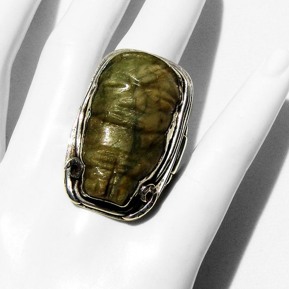 Olmec Style Carved Mexican Jade Ring Sterling Silv