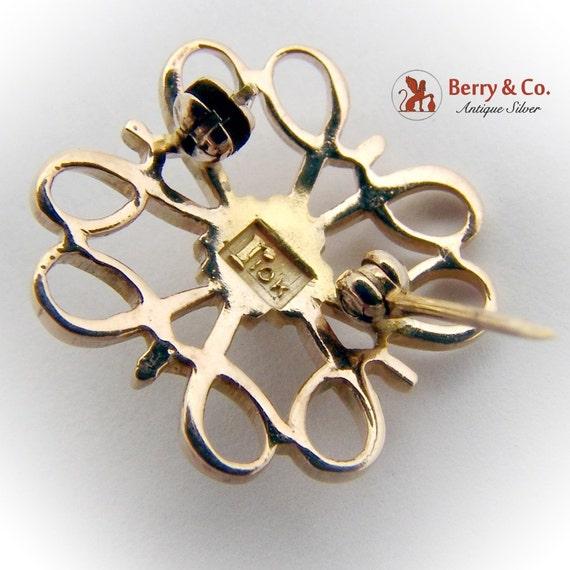 Vintage Small Ornate Brooch Seed Pearl 10 K Gold - image 3