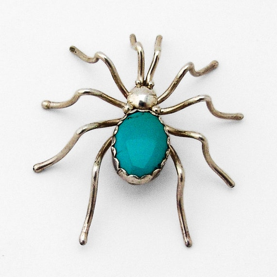 Turquoise Spider Brooch Sterling Silver
