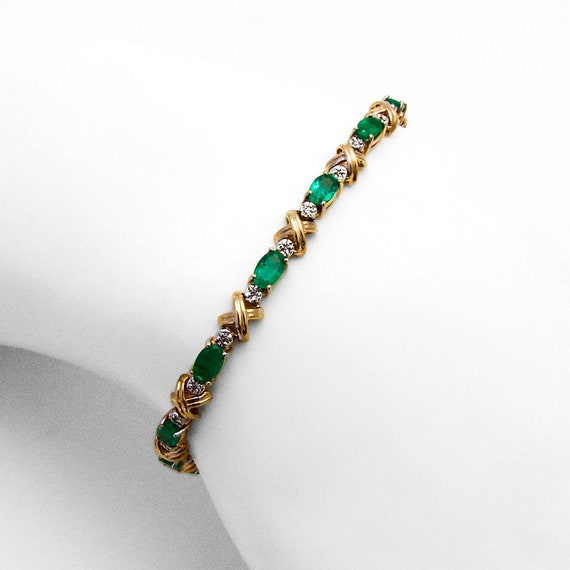 Emerald Diamond Tennis Line Bracelet 14 K Yellow G