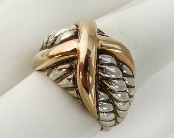 X Dome Ring 14 K Gold Sterling Silver Thailand