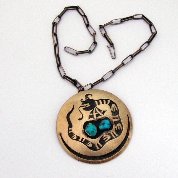 Round Hopi Pendant Brooch Snake Design Sterling Si