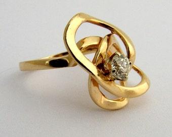 Abstract Diamond Ring 14 K Gold