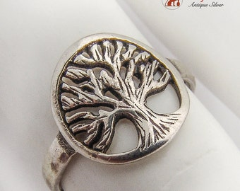 Openwork Figural Tree Of Life Ring Sterling Silver