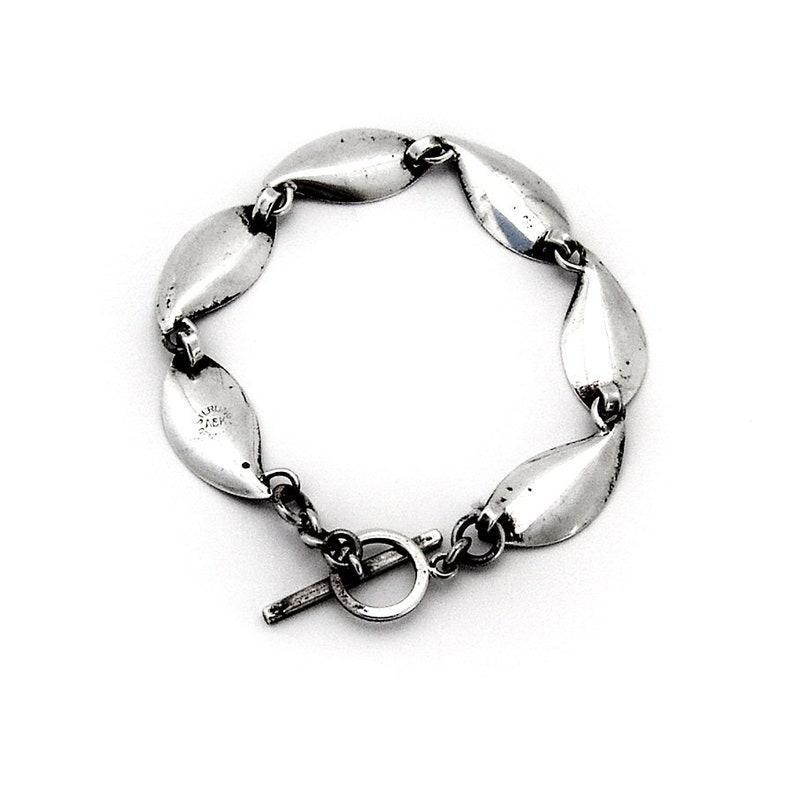 Aarre Krogh Foliate Link Bracelet Toggle Clasp Sterling Silver Denmark