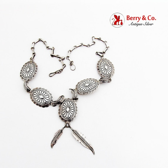 Concho Feather Link Necklace Feather Drops Sterlin