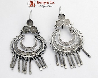 SaLe! sALe! Ornate Filigree Chandelier Earrings Sterling Silver