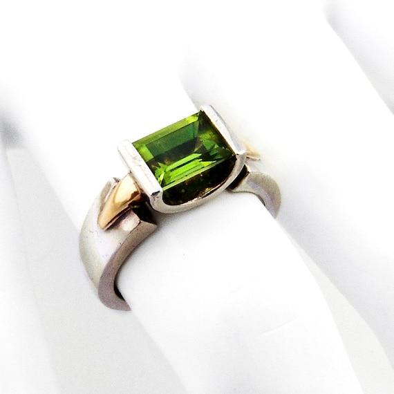 Modernist Peridot Ring Sterling Silver 18K Gold