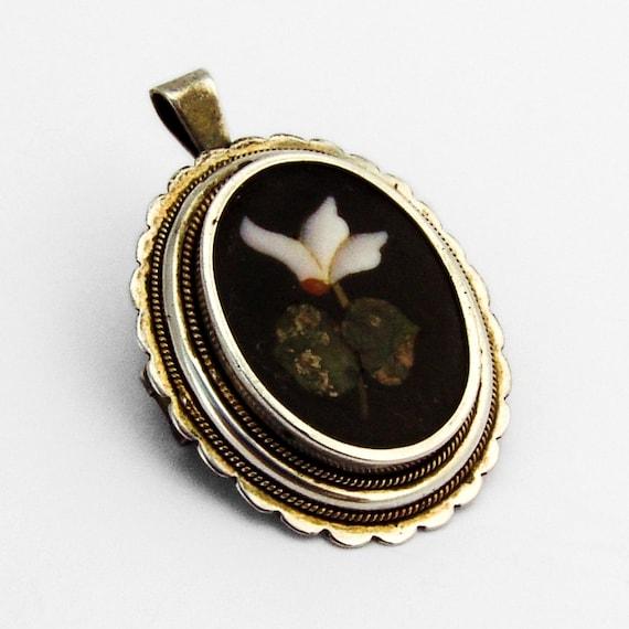 Pietra Dura Pendant Brooch 800 Silver Onyx Gemston