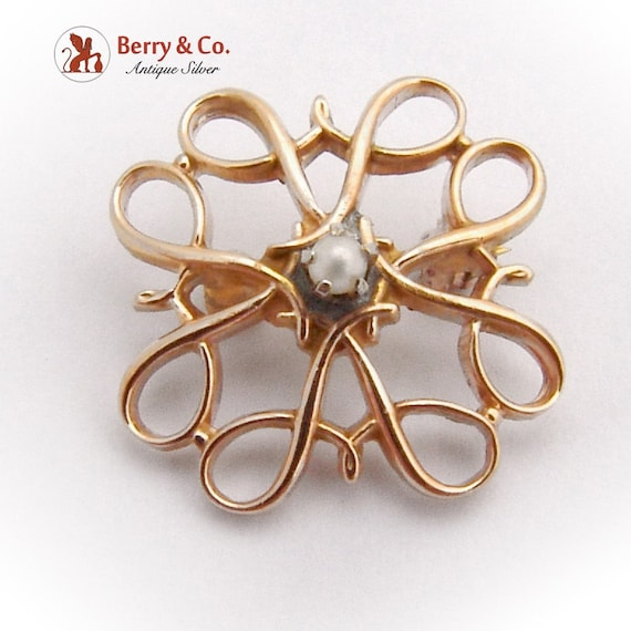 Vintage Small Ornate Brooch Seed Pearl 10 K Gold - image 1