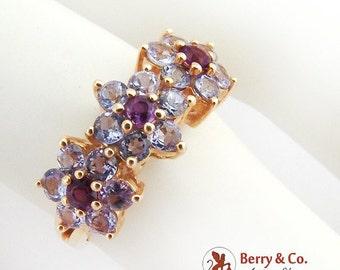 SaLe! sALe! Modernist Floral Amethyst Ring 14 K Gold