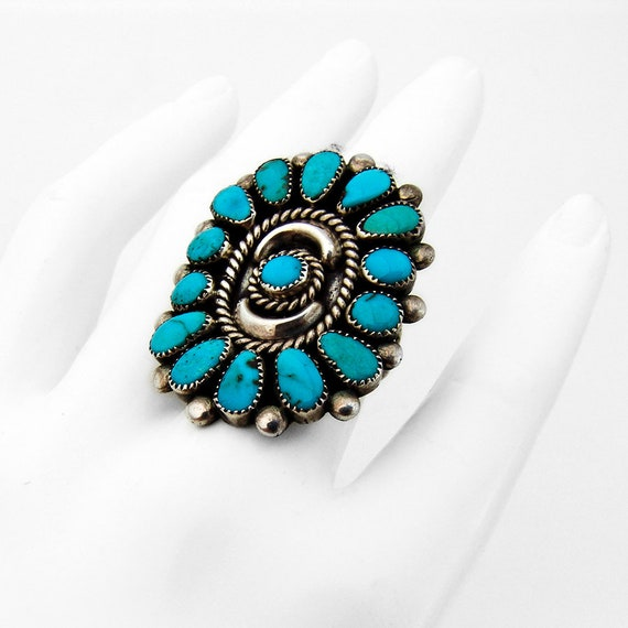 Old Pawn Oval Turquoise Ring Sterling Silver