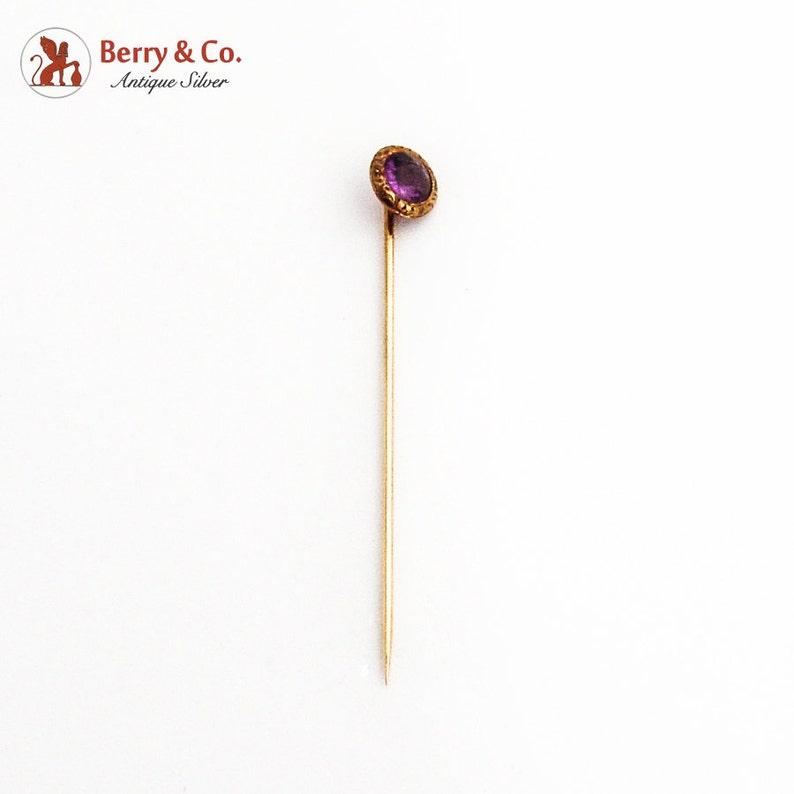 Antique Round Ornate Amethyst Stick Pin 14K Gold 1890